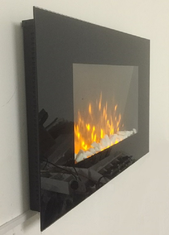 TruFlame Wall Mounted Flat Glass Electric Fire with Pebble Effect (90cm wide square corners) side on view