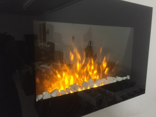 TruFlame Wall Mounted Flat Glass Electric Fire with Pebble Effect (90cm wide square corners) flame effect view