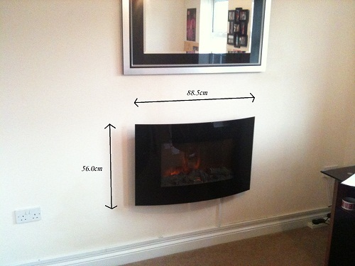 TruFlame Wall Mounted Arched Glass Electric Fire with Log Effect dimensions