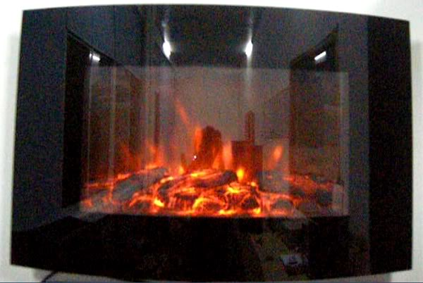 TruFlame Wall Mounted Arched Glass Electric Fire with Log Effect No LEDs