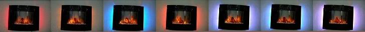 TruFlame LED Side Lit (7 colours) Wall Mounted Flat Glass Electric Fire with Log and Pebble Effect collage