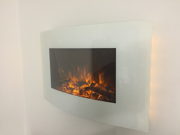 TruFlame 7 colour Side LEDs Wall Mounted Arched White Glass Electric Fire with Log Effect yellow side leds