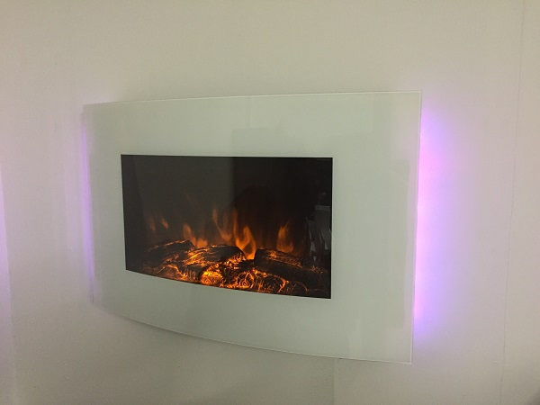 TruFlame 7 colour Side LEDs Wall Mounted Arched White Glass Electric Fire with Log Effect purple side leds