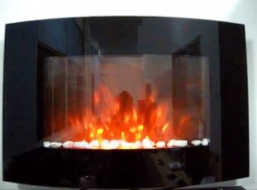 TruFlame Wall Mounted Arched Glass Electric Fire with Pebble Effect (88cm wide)
