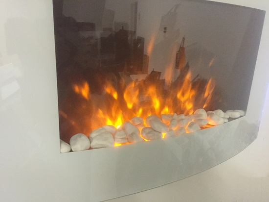 TruFlame 7 colour Side LEDs Wall Mounted Arched White Glass Electric Fire with Pebble Effect showing truflame effect