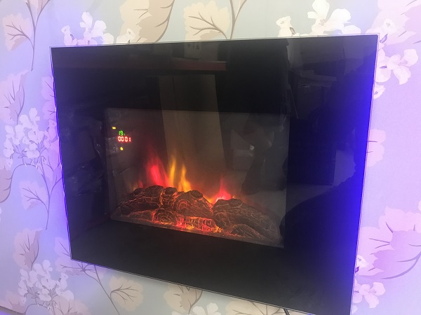 66cm Wide Wall Mounted Electric Fire Flat Black Glass