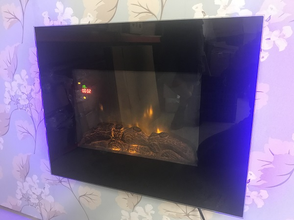 TruFlame LED Side Lit (7 colours) Wall Mounted Flat Glass Electric Fire with Log and Pebble Effect flame colour 3