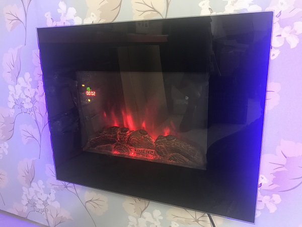 TruFlame LED Side Lit (7 colours) Wall Mounted Flat Glass Electric Fire with Log and Pebble Effect flame colour 4