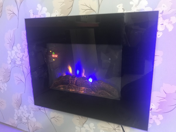 TruFlame LED Side Lit (7 colours) Wall Mounted Flat Glass Electric Fire with Log and Pebble Effect flame colour 5