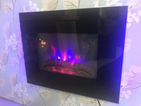 TruFlame LED Side Lit (7 colours) Wall Mounted Flat Glass Electric Fire with Log and Pebble Effect flame colour 6