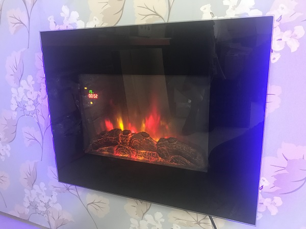 TruFlame LED Side Lit (7 colours) Wall Mounted Flat Glass Electric Fire with Log and Pebble Effect flame colour 7