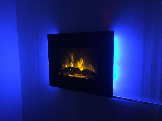 TruFlame LED Side Lit (7 colours) Wall Mounted Flat Glass Electric Fire with Log and Pebble Effect blue side leds