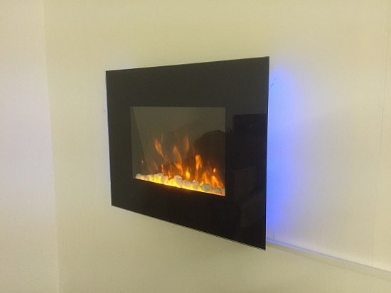 TruFlame LED Side Lit (7 colours) Wall Mounted Flat Glass Electric Fire with Log and Pebble Effect light blue side leds