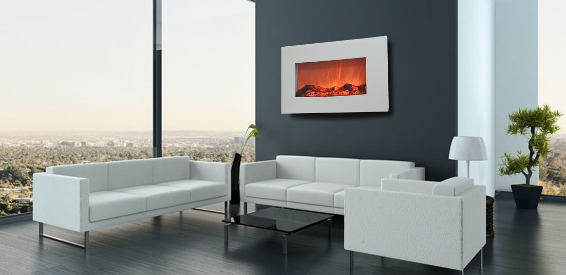 TruFlame 90cm White Wall Mounted Electric Fire with 10 colour Flames