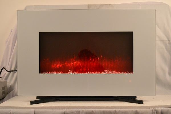 TruFlame 90cm White Wall Mounted Electric Fire with crystals and orange flames