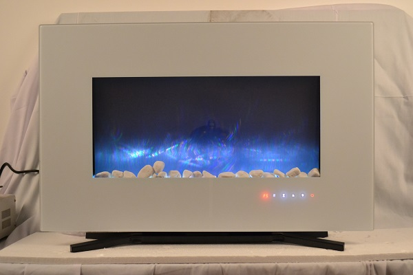 TruFlame 90cm White Wall Mounted Electric Fire with blue flames and pebbles