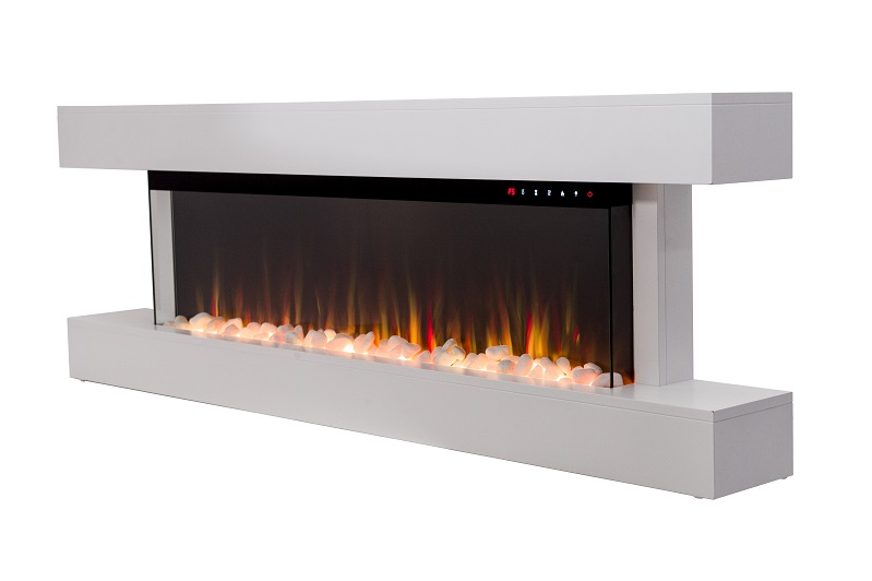 60 inch white truflame wall mounted electric fire with mantel