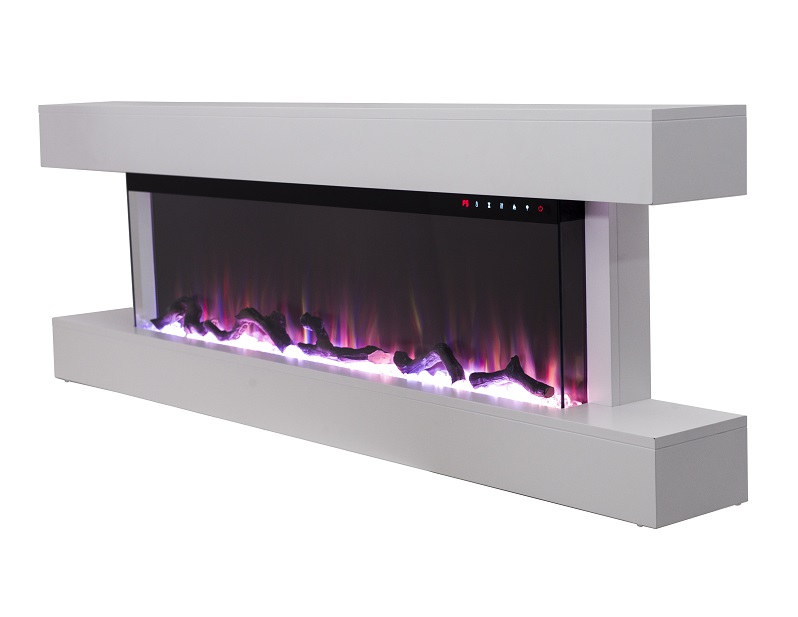 60 inch white truflame wall mounted electric fire with mantel with logs