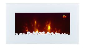 TruFlame LED Side Lit (7 colours) Wall Mounted Flat White Glass Electric Fire with Log and Pebble Effect logs and red leds
