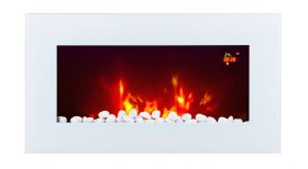 TruFlame LED Side Lit (7 colours) Wall Mounted Flat White Glass Electric Fire with Log and Pebble Effect flame colour 1