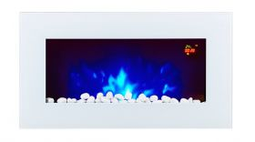 TruFlame LED Side Lit (7 colours) Wall Mounted Flat White Glass Electric Fire with Log and Pebble Effect flame colour 2