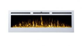 50inch Black Wall Mounted Electric Fire with 3 colour Flames blue flames