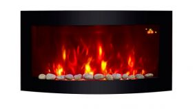 2018 NEW TruFlame 7 colour Side LEDs Wall Mounted Arched Glass Electric Fire with Pebble Effect on wall