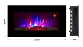 TruFlame LED Side Lit (7 colours) Wall Mounted Flat Glass Electric Fire with Log and Pebble Effect orange leds