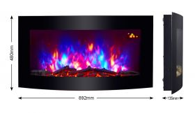 TruFlame wall mounted electric fire with logs colour flame 2