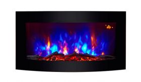 TruFlame Wall Mounted Arched Glass Electric Fire with Log Effect Purple LEDs