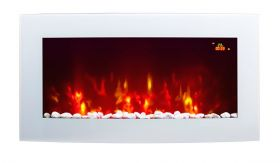 TruFlame 7 colour Side LEDs Wall Mounted Arched White Glass Electric Fire with Pebble Effect blue sides