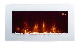 TruFlame 7 colour Side LEDs Wall Mounted Arched White Glass Electric Fire with Pebble Effect red side leds