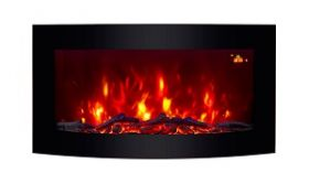 TruFlame Wall Mounted Arched Glass Electric Fire with Log Effect Orange LEDs