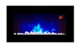 TruFlame LED Side Lit (7 colours) Wall Mounted Flat Glass Electric Fire with Log and Pebble Effect red and logs