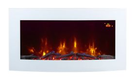 TruFlame 7 colour Side LEDs Wall Mounted Arched White Glass Electric Fire with Log Effect blue sides