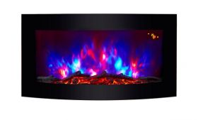 TruFlame Wall Mounted Arched Glass Electric Fire with Log Effect Light Blue LEDs