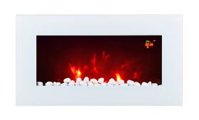 TruFlame LED Side Lit (7 colours) Wall Mounted Flat White Glass Electric Fire with Log and Pebble Effect red leds