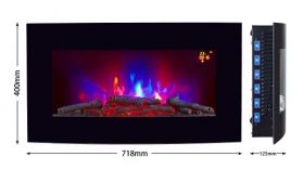 TruFlame LED Side Lit (7 colours) Wall Mounted Arched Glass Electric Fire with Pebble Effect orange side leds