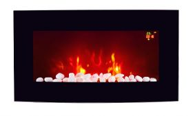 TruFlame LED Side Lit (7 colours) Wall Mounted Arched Glass Electric Fire with Pebble Effect side view
