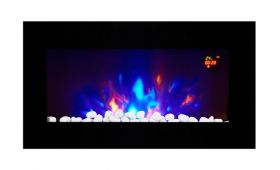 TruFlame LED Side Lit (7 colours) Wall Mounted Flat Glass Electric Fire with Log and Pebble Effect side view