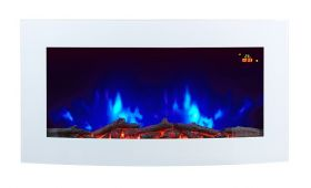 TruFlame 7 colour Side LEDs Wall Mounted Arched White Glass Electric Fire with Log Effect orange sides