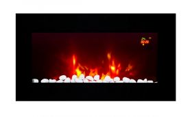 TruFlame LED Side Lit (7 colours) Wall Mounted Flat Glass Electric Fire with Log and Pebble Effect light blue leds
