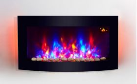 2018 NEW TruFlame 7 colour Side LEDs Wall Mounted Arched Glass Electric Fire with Pebble Effect
