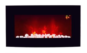TruFlame LED Side Lit (7 colours) Wall Mounted Arched Glass Electric Fire with Pebble Effect purple side leds