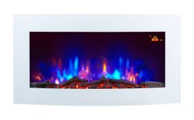 TruFlame 7 colour Side LEDs Wall Mounted Arched White Glass Electric Fire with Log Effect pink side leds