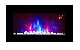 TruFlame LED Side Lit (7 colours) Wall Mounted Flat Glass Electric Fire with Log and Pebble Effect log and red leds