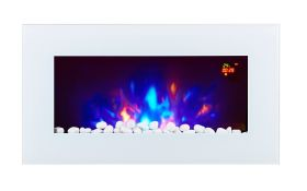 TruFlame LED Side Lit (7 colours) Wall Mounted Flat White Glass Electric Fire with Log and Pebble Effect flame colour 4