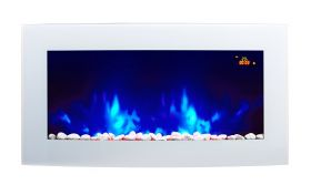 TruFlame 7 colour Side LEDs Wall Mounted Arched White Glass Electric Fire with Pebble Effect blue side leds