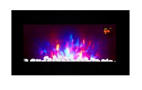 TruFlame LED Side Lit (7 colours) Wall Mounted Flat Glass Electric Fire with Log and Pebble Effect new features