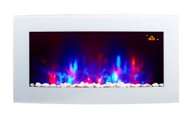 TruFlame 7 colour Side LEDs Wall Mounted Arched White Glass Electric Fire with Pebble Effect showing flames
